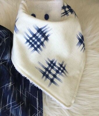 Baby Boy Bandana bib in Graphic hashtag and Lines in Navy by Tractors & Fairies