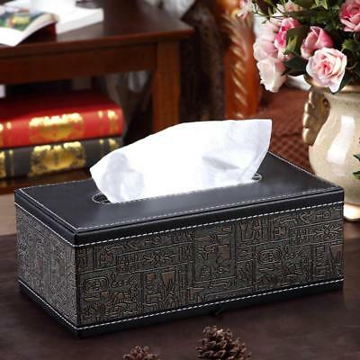 PU Leather Tissue Box Cover Pumping Paper Napkin Holder Box Black Brown