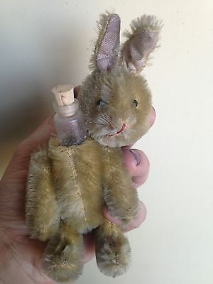 "Very Rare Miniature 6"" Vintage Schuco Mohair Perfume Bottle Bunny Rabbit No Res"