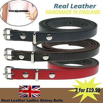 Skinny Belts UK Fashion Waist Real Leather Special Offer Set 12mm Made In UK
