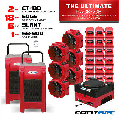 Water Damage Commercial Dehumidifiers and Air Movers and Air Scrubbers in Red