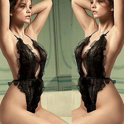 Lingerie Hot Lace Babydoll Sleepwear 1 Set Bodysuit Underwear Women's Nightwear