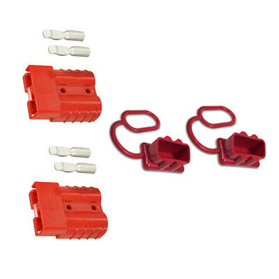 Anderson Plug RED 50 Amp Connector GENUINE Twin Pack with RED Dust Covers