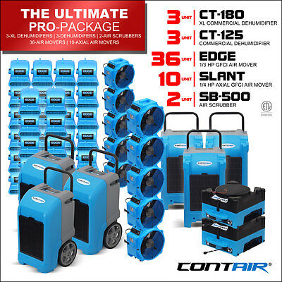 Water Damage Industrial Dehumidifiers and Air Movers and Air Scrubbers in Blue
