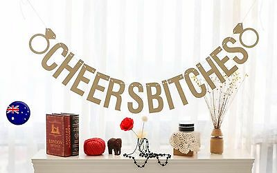 Bride to Be Hen's night Cheers Bitches Banner Party Bunting Cardboard Decor Prop