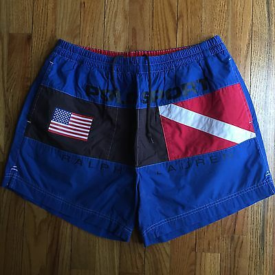 Vintage POLO Sport Ralph Lauren Swim Shorts Trunks Sailing Spellout Flag Diving