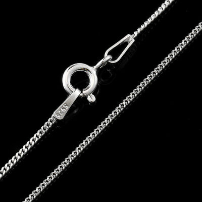 925 Sterling Silver 1mm Curb Chain Necklace 14 16 18 20 22 24 26 28 30 Inch Gift