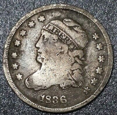1836 USA 1/2 Dime Capped Bust American Colony ☆ Nice and Original Silver Coin