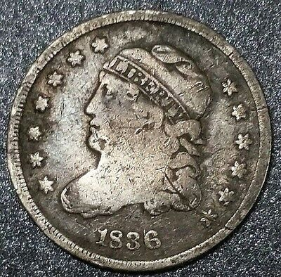 1836 USA 1/2 Dime Capped Bust Half Dime Colony Liberty & Arrows Silver Coin