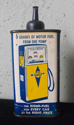 Vintage Sunoco Household Oil Can - 4oz Oiler - Gas Pump Graphics
