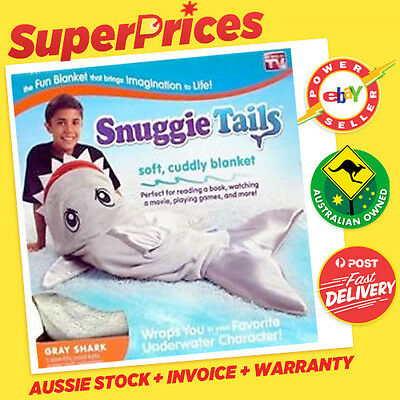 Snuggie Tail Tails Blanket◉Genuine◉Cuddly◉Gray Shark◉Fit Most Kids◉As Seen On Tv