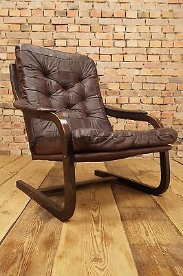 60s Retro EASY CHAIR DANISH BLACK LEATHER ARMCHAIR CANTILEVER FAUTEUIL Vintage