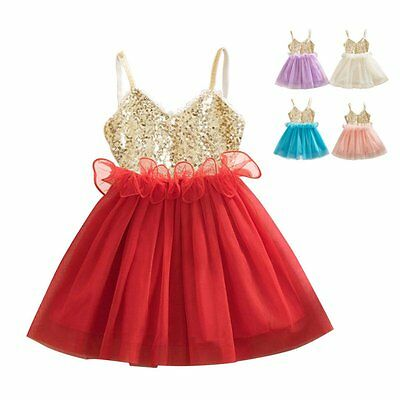 Girls Kids Toddler Baby Sequins Flower Princess Party Tulle Tutu Dress Dancewear