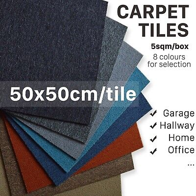 50X50CM Carpet Tiles Heavy Duty Hard Wearing 5m2 Domestic Commercial Black Grey