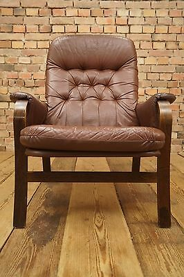 60s Retro EASY CHAIR DANISH LEATHER ARMCHAIR DENMARK LOUNGE Westnofa Vintage 4