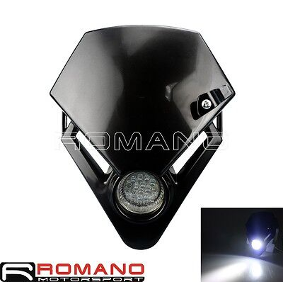 LED Head Light Fairing Front Dual Sport Lamp Street Fighter Black Universal New