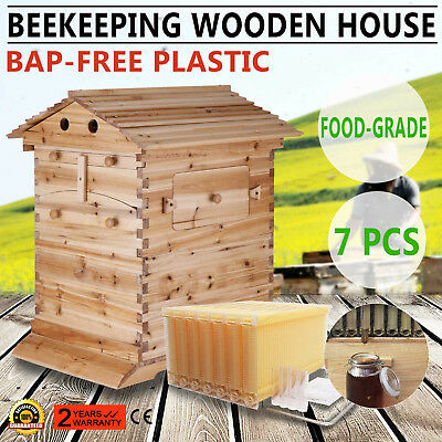 7PCS Upgraded Hive Flow Honey Beehive Frames + 1PC Beekeeping Wooden Box 2 Safe