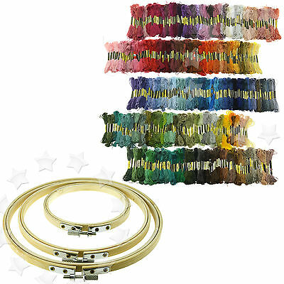 4 6 8 inch Round Bamboo Hoops Rings For Embroidery Cross Stitch Sewing Set