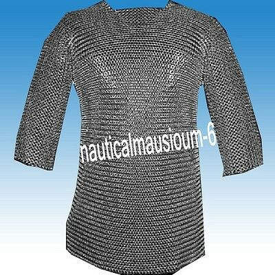 Antique Chainmail Round Rivet Hubergion Half Sleeve Shirt Medium Size Shirt