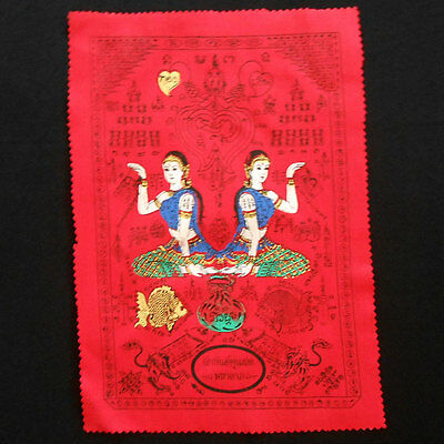 Pha Yant Yantra Holy NANG KWAK Hunting Money Thai Amulet Lucky 20 x 29 cm Red