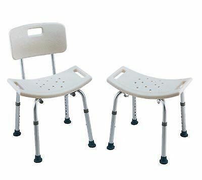 Shower Chair With Handle Adjustable Height Aluminum Bath Bench / No Back Stool