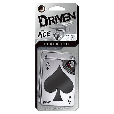 Driven The Ace Stylized Brushed Aluminum Cards Air Freshener, Black Out Scent