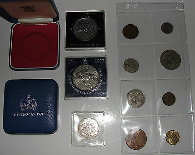 Joblot Of 20Th Century Coins George 6Th Plus Presentation Boxes Crown Half
