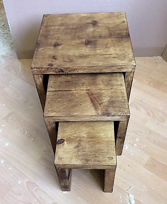 Wooden Nest Of Tables - Solid Handmade Rustic Chunky Pine