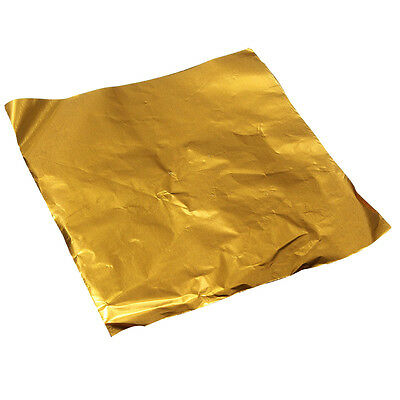 100pcs Square Candy Chocolate Paper Aluminum Foil Wrappers Gold Z3F9
