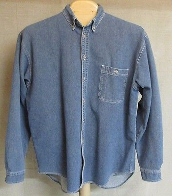 Vintage Blue Ribbed Classic Denim Work Long Sleeve Button Up Jean Shirt Men's Xl