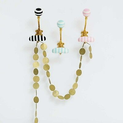 1 Pale Pink, White & Gold Striped Resin Wall Coat Hook, Towel Hanger Bombay Duck