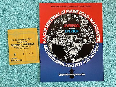 1977 - FA CUP SEMI FINAL PROGRAMME + MATCH TICKET - LIVERPOOL v EVERTON