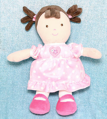Carters Child Of Mine Girl Baby Doll Rattle Plush Pink Heart White Dots Lovey
