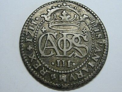 1711 Charles Iii 2 Real Barcelona Mint Spanish Colonial Spain Silver Coin