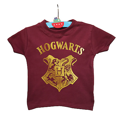 Baby's 1-2 years old Harry Potter Hogwarts inspired burgundy t-shirt.