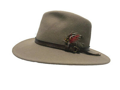 ... order browning felt 100 wool bismarck rancher hat leather band feather  trim sz med 8f590 17f21 9f09ae97c942
