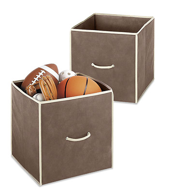 """NEW Whitmor Collapsible Fabric Cubes Bins Storage Set of 2 Java 14 x 14 x 14"""""""