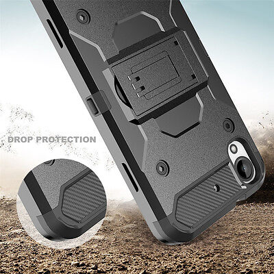 For HTC Desire 630 Shockproof Rugged Armor Case Cover Stand Holster Belt Clip