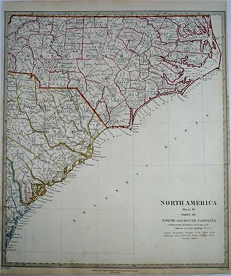Large Antique SDUK Map of North America, 1833 -  USA - North and South Carolina