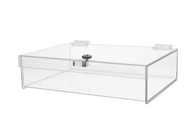 "Rectangular Locking Countertop Tray is 12""W x 8""D x 2-3/4""H Tradeshow Lock Box"