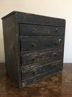 Vintage Bank Of Pine 20th Century Industrial Antique Rustic Drawers