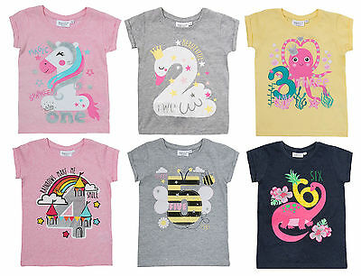 Girls T-Shirt Top Tee Rainbow Swan Unicorn Birthday Age Kids 1 2 3 4 5 6 Years