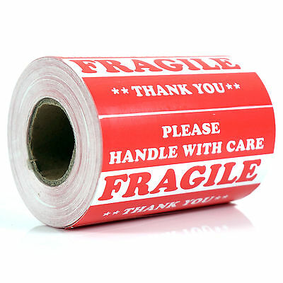 "500 pieces 3"" x 5"" Handle With Care Fragile Label Sticker Self Adhesive Warning"