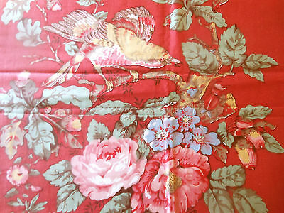 Antique Vintage English Bird Roses Floral Cotton Chintz Fabric ~ Coral Pink Red
