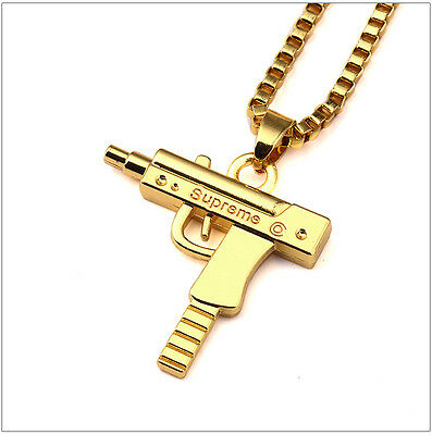 SUPREME Necklace Gold Uzi Gun Pendant Chain UK SELLER *New* 1 DAY DISPATCH!!