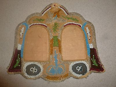 Antique Native American Beaded Photo Double Frame Late 1800s 11x12""