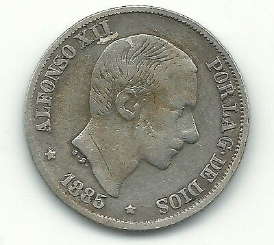 Very Fine  Better Date 1885 Spain-Silver Alfonso Xii-10 Centimos-Mar725