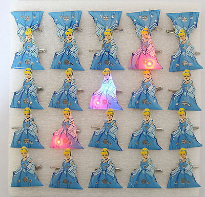 Lot Cinderella Princess Flashing LED Light Up Badge/Brooch Pins Party Gifts Q151