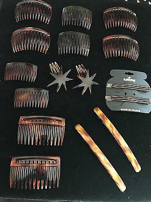 Vintage Antique Comb Lot French Faux Tortoiseshell Hair Combs Pins Clips France