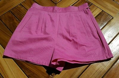 Vintage Esprit Pink High Waist Ribbed Trouser Short Shorts Pockets Womens 28
